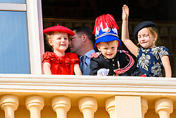Prince Albert II of Monaco, Princess Charlene of Monaco with their twin children Prince Jacques and Princess Gabriella, Tatiana Santo Domingo, Princess Caroline of Hanover, Princess Alexandra of Hanover, Pierre Casiraghi with children India Casiraghi, Alexander Casiraghi and Francesco Casiraghi, Princess Charlene's brothers Gareth Wittstock and Sean-Michael Wittstock during the Army Parade, as part of the official celebrations marking the principality's National Day 2019 at the Monaco Palace, in Monaco. 19 Nov 2019 Pictured: Prince Albert II of Monaco, Princess Charlene of Monaco with their twin children Prince Jacques and Princess Gabriella. Photo credit: MEGA TheMegaAgency.com +1 888 505 6342
