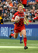 VANCOUVER, BC - MARCH 10: Angus O'Brien (#7) of Wales down the sideline to score during Game # 13- England vs Samoa Pool B match at the Canada Sevens held March 10-11, 2018 in BC Place Stadium in Vancouver, BC. (Photo by Allan Hamilton/Icon Sportswire)