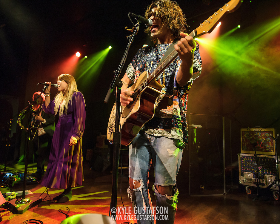 """WASHINGTON, DC - October 10th, 2013 - Andrew Wesson, Hannah Hooper and Christian Zucconi of Grouplove perform at The Hamilton in Washington, D.C. The band's 2011 hit """"Tongue Tied"""" sold over 1 million copies, was featured in an iPod Touch commercial and was covered on the TV show Glee. (Photo by Kyle Gustafson / For The Washington Post)"""