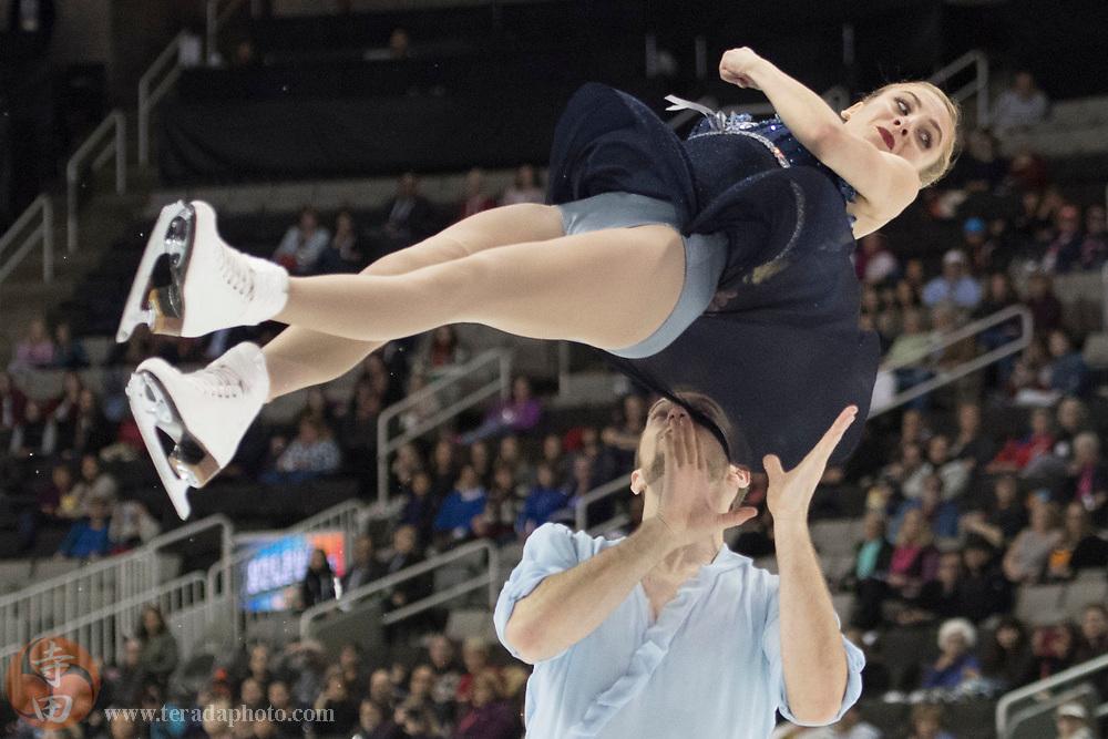 January 4, 2018; San Jose, CA, USA; Tarah Kayne and Danny O'Shea performs in the pairs short program during the 2018 U.S. Figure Skating Championships at SAP Center.