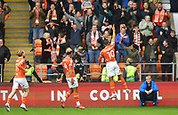 Blackpool's Keshi Anderson celebrates scoring his team's opening goal<br /> <br /> Photographer Dave Howarth/CameraSport<br /> <br /> The EFL Sky Bet Championship - Blackpool v Preston North End - Saturday 23rd October 2021 - Bloomfield Road - Blackpool<br /> <br /> World Copyright © 2020 CameraSport. All rights reserved. 43 Linden Ave. Countesthorpe. Leicester. England. LE8 5PG - Tel: +44 (0) 116 277 4147 - admin@camerasport.com - www.camerasport.com