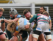 Wasps Prop Kieran Brookes and Hooker Tommy Taylor combine to tackle Leicester Tigers lock Tomás Lavanini during a Gallagher Premiership Round 10 Rugby Union match, Friday, Feb. 20, 2021, in Leicester, United Kingdom. (Steve Flynn/Image of Sport)