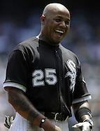 CHICAGO - JULY 08:  Andruw Jones #25 of the Chicago White Sox laughs during the game against the Los Angeles Angels of Anaheim on July 8, 2010 at U.S. Cellular Field in Chicago, Illinois.  The White Sox defeated the Angels 1-0.  (Photo by Ron Vesely)