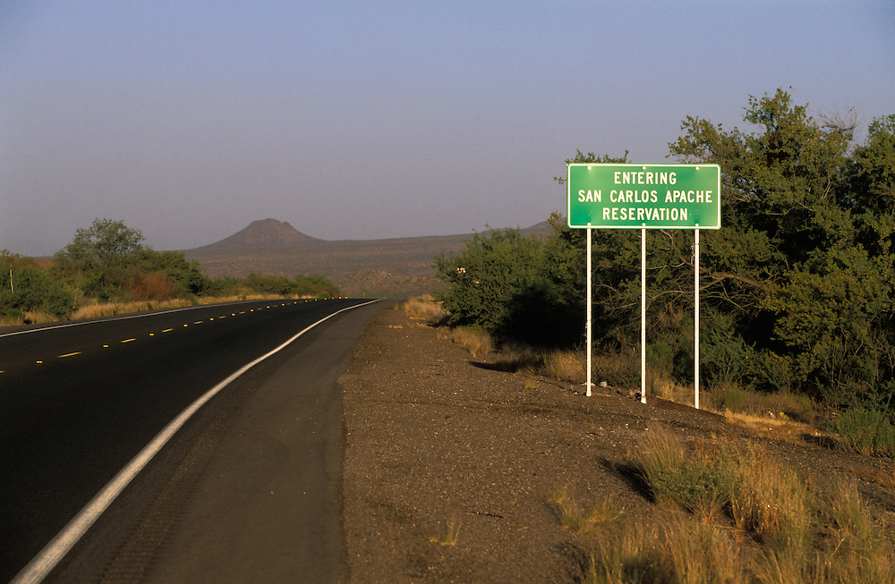 A sign when entering the San Carlos Apache Indian Reservation in Arizona, USA. June 2004.
