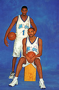 October 2000, Orlando, Florida, USA;  Tracy McGrady, and Grant Hill pose for a photo during Media Day at the start of training camp for the Orlando Magic.