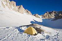 Winter campsite at Iceberg lake  (12,600 ft - 3850 m) on mountaineers route on Mount Whitney, Sierra Nevada mountains, California