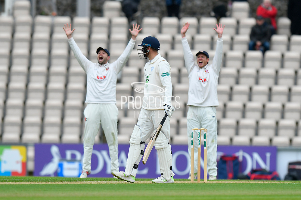 Essex unsucessfully appeal for an LBW against James Vince of Hampshire during the first day of the Specsavers County Champ Div 1 match between Hampshire County Cricket Club and Essex County Cricket Club at the Ageas Bowl, Southampton, United Kingdom on 5 April 2019.