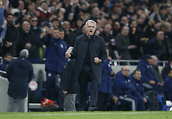 LONDON, Nov. 27, 2019  Tottenham Hotspur's head coach Jose Mourinho celebrates his team's 2nd goal during the UEFA Champions League Group B match between Tottenham Hotspur and Olympiakos at the Tottenham Hotspur Stadium in London, Britain on Nov. 26, 2019..FOR EDITORIAL USE ONLY. NOT FOR SALE FOR MARKETING OR ADVERTISING CAMPAIGNS. NO USE WITH UNAUTHORIZED AUDIO, VIDEO, DATA, FIXTURE LISTS, CLUB/LEAGUE LOGOS OR ''LIVE'' SERVICES. ONLINE IN-MATCH USE LIMITED TO 45 IMAGES, NO VIDEO EMULATION. NO USE IN BETTING, GAMES OR SINGLE CLUB/LEAGUE/PLAYER PUBLICATIONS. (Photo by Matthew Impey/Xinhua) (Credit Image: © Han Yan/Xinhua via ZUMA Wire)