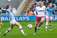 West Ham United Women forward Adriana Leon (19) passes the ball during the FA Women's Super League match between Manchester City Women and West Ham United Women at the Sport City Academy Stadium, Manchester, United Kingdom on 17 November 2019.