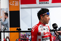 January 10, 2019 - Caleb Ewan (Lotto-Soudal) being interviewed before a training ride, Tour Down Under, Australia on the 10 of January 2019  (Credit Image: © Gary Francis/ZUMA Wire)
