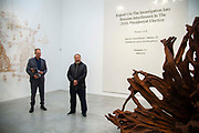 Ai Weiwei speaking at the opening of  his new exhibition Ai Weiwei: Roots at the Lisson Gallery, London, United Kingdom on 1st October 2019.