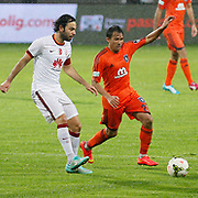 Galatasaray's Selcuk Inan (L) during their Turkish Super League soccer match Istanbul Basaksehir between Galatasaray at the Basaksehir Fatih Terim Arena at Basaksehir in Istanbul Turkey on Sunday, 26 October 2014. Photo by Aykut AKICI/TURKPIX