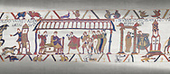 Bayeux Tapestry scene 15:  Dule William of Normandy hold discussions with Harold and, right, Williams daughter Aelgyve is detroved to him. .<br /> <br /> If you prefer you can also buy from our ALAMY PHOTO LIBRARY  Collection visit : https://www.alamy.com/portfolio/paul-williams-funkystock/bayeux-tapestry-medieval-art.html  if you know the scene number you want enter BXY followed bt the scene no into the SEARCH WITHIN GALLERY box  i.e BYX 22 for scene 22)<br /> <br />  Visit our MEDIEVAL ART PHOTO COLLECTIONS for more   photos  to download or buy as prints https://funkystock.photoshelter.com/gallery-collection/Medieval-Middle-Ages-Art-Artefacts-Antiquities-Pictures-Images-of/C0000YpKXiAHnG2k
