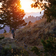 Heather Goodrich rides dry dusty Singletrack at sunset in the Tetons.