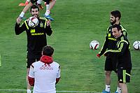 Spanish National Team's  training at Ciudad del Futbol stadium in Las Rozas, Madrid, Spain. In the pic: Raul Albiol, Iker Casillas, Isco and Santi Cazorla. March 25, 2015. (ALTERPHOTOS/Luis Fernandez)