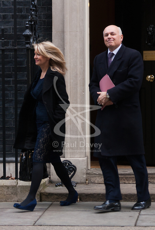 London, February 24th 2015. Ministers arrive at the weekly cabinet meeting at 10 Downing Street. PICTURED: Esther McVey and Iain Duncan-Smith