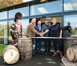 'Rebus' creator Ian Rankin with distillery owner Drew McKenzie Smith, his wife Helen and celebrated whisky expert Richard Patterson as the author opened Scotland's newest distillery at Lindores Abbey in Fife, which is on the site of the earliest recorded distillation of whisky over 500 years ago.<br /> <br /> © Dave Johnston/ EEm