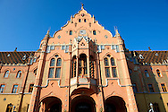 Art Nouveau (Sezession) City Hall designed by Lechner Ödön with Zolnay tiles, Hungary Kecskemét .<br /> <br /> Visit our HUNGARY HISTORIC PLACES PHOTO COLLECTIONS for more photos to download or buy as wall art prints https://funkystock.photoshelter.com/gallery-collection/Pictures-Images-of-Hungary-Photos-of-Hungarian-Historic-Landmark-Sites/C0000Te8AnPgxjRg