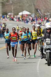 2013 Boston Marathon: Dickson Chumba, Kenya,  surges near mile 18 to break up lead group of elite men