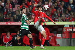 February 6, 2019 - Lisbon, Portugal - Benfica's Portuguese forward Joao Felix (R ) vies with Sporting's midfielder Bruno Fernandes from Portugal during the Portugal Cup Semifinal first leg football match SL Benfica vs Sporting CP at Luz stadium in Lisbon, on February 6, 2019. (Credit Image: © Pedro Fiuza/ZUMA Wire)