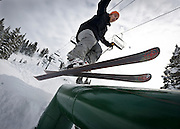 Colby Hine grinds a rail at the Brighton Ski Resort, opening on November 13th for the season, Monday, Nov. 12, 2012.
