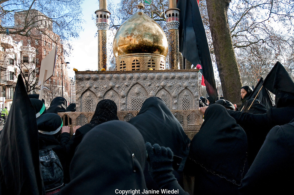 Hub- e -Ali  annual Arbaeen (Chelum) Procession of Shia Muslims marking martyrdom of Hussain grandson of Muhammad in Park Lane London
