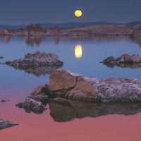 The full moon rising over Mono Lake, California.