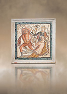 Roman Mosaic of  Lycurgus and Ambrosia the presence of Dionysus from Herculaneum, Naples Archaeological Museum, Italy ..<br /> <br /> If you prefer to buy from our ALAMY PHOTO LIBRARY  Collection visit : https://www.alamy.com/portfolio/paul-williams-funkystock/roman-mosaic.html - Type -   Naples    - into the LOWER SEARCH WITHIN GALLERY box. Refine search by adding background colour, place, museum etc<br /> <br /> Visit our ROMAN MOSAIC PHOTO COLLECTIONS for more photos to download  as wall art prints https://funkystock.photoshelter.com/gallery-collection/Roman-Mosaics-Art-Pictures-Images/C0000LcfNel7FpLI