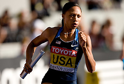 Allyson Felix of the United States competes in the women's 4x400 Metres Relay Finalduring day nine of the 12th IAAF World Athletics Championships at the Olympic Stadium on August 23, 2009 in Berlin, Germany. (Photo by Vid Ponikvar / Sportida)