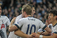 Harry Kane (Tottenham Hotspur) celebrates his goal during the Barclays Premier League match between Manchester City and Tottenham Hotspur at the Etihad Stadium, Manchester, England on 14 February 2016. Photo by Mark P Doherty.
