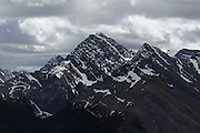 Imposing Rockies seen from the top of the Sulphur Skyline hike, near Miette Hot Springs & Jasper, in Alberta