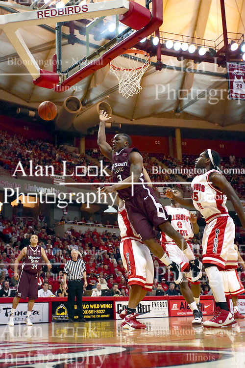 18 January 2009: Chris Cooks looses the ball in traffic under the hoop. The Illinois State University Redbirds top the Missouri State Bears 68-56 on Doug Collins Court inside Redbird Arena on the campus of Illinois State University in Normal Illinois
