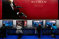 © Licensed to London News Pictures.  27/09/2012. LONDON, UK. Visitors try out the unreleased Hitman Absolution computer game at the Eurogamer Expo in Earls Court London. The show opened today (Thursday) and 50,000 people are expected to attend over the next 4 days. Photo credit :  Cliff Hide/LNP