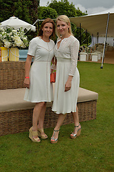 Left to right, CLAUDINE DAVIS and REBECCA LE NOEL founders of Coco Wolf outdoor furniture at the Goffs London Sale held at The Orangery, Kensington Palace, London on 12th June 2016.