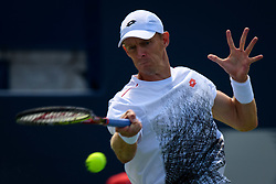 August 10, 2018 - Toronto, ON, U.S. - TORONTO, ON - AUGUST 10: Kevin Anderson (RSA) returns the ball during his Quarter-Finals match of the Rogers Cup tennis tournament on August 10, 2018, at Aviva Centre in Toronto, ON, Canada. (Photo by Julian Avram/Icon Sportswire) (Credit Image: © Julian Avram/Icon SMI via ZUMA Press)