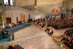 Photo taken on Dec. 10, 2014 shows a view of the awarding ceremony of 2014 Nobel peace prize in Oslo, Norway. Kailash Satyarthi and Malala Yousafzai, two child welfare activists from Indian and Pakistan respectively, on Wednesday received the 2014 Nobel peace prize. EXPA Pictures © 2014, PhotoCredit: EXPA/ Photoshot/ Liu Min<br /> <br /> *****ATTENTION - for AUT, SLO, CRO, SRB, BIH, MAZ only*****