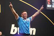 Gerwyn Price wins a last leg shoot out against Simon Whitlock(16-15) and celebrates during the 2018 Grand Slam of Darts at Aldersley Leisure Village, Wolverhampton, United Kingdom on 16 November 2018. Picture by Shane Healey.