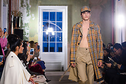 Hugo Hodgson on the catwalk at the Burberry London Fashion Week SS18 show, held at the Old Sessions House, London. Picture date: Saturday September 16th, 2017. Photo credit should read: Matt Crossick/ EMPICS Entertainment.