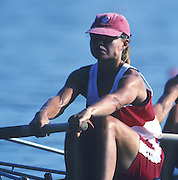Banyoles, SPAIN, Gold Medalist,  Women's pair, Stroke CAN W2-, Stroke, Kathleen HEDDLE, competing in the 1992 Olympic Regatta, Lake Banyoles, Barcelona, SPAIN. 92 Gold Medalist.   [Mandatory Credit: Peter Spurrier: Intersport Images]