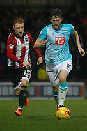 Chris Martin of Derby county making a run down the nearside of the pitch during the Skybet football league championship match, Brentford  v Derby county at Griffin Park in London on Saturday 20th February 2016.<br /> pic by Steffan Bowen, Andrew Orchard sports photography.