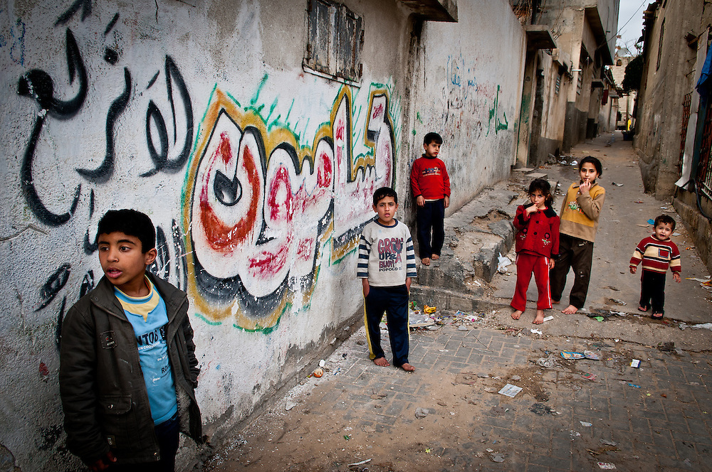Children play in an alleyway in the Jabaliya Refugee Camp. The Gaza Strip has one of the highest population densities in the world.