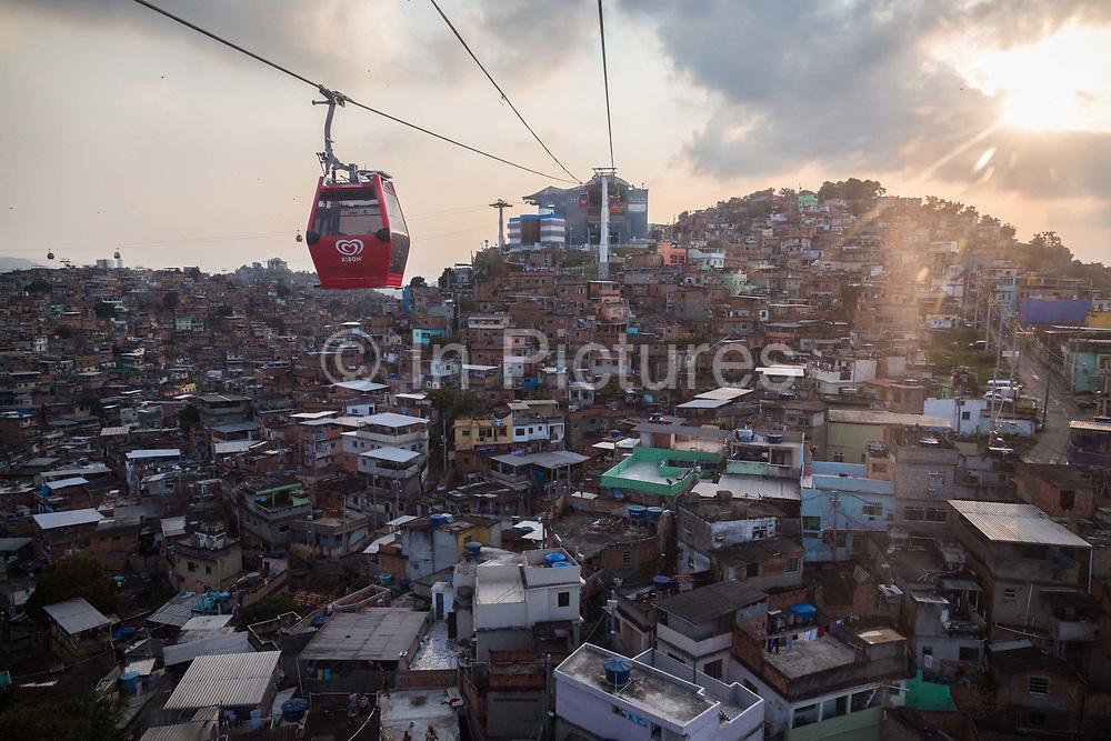 Complexo do Alemao, favela viewed from the cable car, Rio de Janeiro.