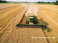 63801-11605 Combine harvesting wheat-aerial Marion Co.  IL