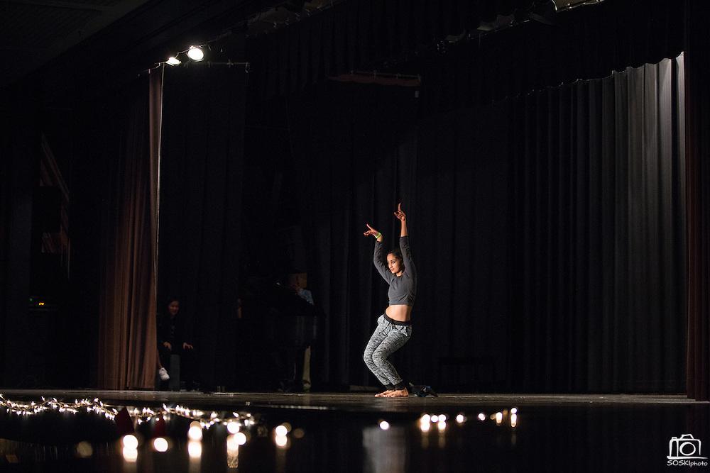 Amritha Deshpande dances during the Milpitas High School Talent Show at Milpitas High School in Milpitas, California, on February 5, 2016. (Stan Olszewski/SOSKIphoto)