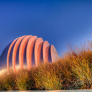 Kauffman Center for the Performing Arts in Kansas City MO lit in orange and red for Halloween 2011.