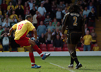 Photo: Tony Oudot.<br />Watford v Portsmouth. The Barclays Premiership. 09/04/2007.<br />Hameur Bouazza of Watford scores his second and Watfords fourth