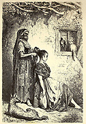 Toilette d'une Gitana, a Diezma [Toilet of a Gypsy woman, in Diezma] Page illustration from the book 'L'Espagne' [Spain] by Davillier, Jean Charles, barón, 1823-1883; Doré, Gustave, 1832-1883; Published in Paris, France by Libreria Hachette, in 1874