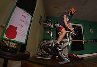 """Kale Poland set to begin the first hour of Body Design by Joy's 12 hour """"Bike a Thon"""" to raise money for NH Easter Seals Drug Prevention and Alcohol Abuse programs.  (Karen Bobotas/for the Laconia Daily Sun)"""