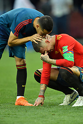 Lucas Vasquez and Sergio Ramos dejected after being eliminated of the 2018 FIFA World Cup by the Russia in Moscow, Russia on July 1st, 2018. Photo by Lionel Hahn/ABACAPRESS.COM