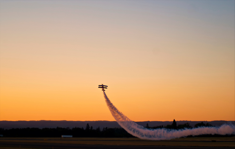 A Plane taking off during sunset at the Oregon International Airshow, Hillsboro, OR.